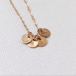 Jewelry - Personalized Initials Necklace, 4 Tiny Discs.
